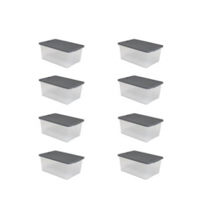 Mainstay 15 Qt. Plastic Latching Storage Container Clear/Grey, Set of 8 @Walmart