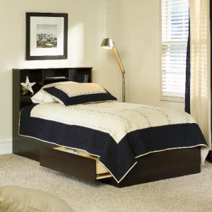 Walmart官网 Mainstays 带床头书架储物床热卖 twin尺寸