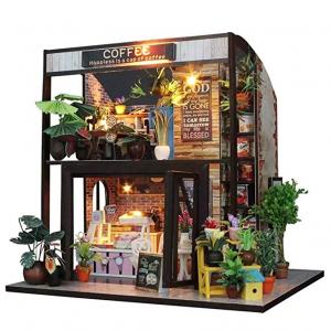 Flever 微型DIY娃娃屋-雙層咖啡館,帶家具 @ Amazon