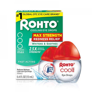Rohto Cool Max Maximum Redness Relief Cooling Eye Drops, 0.4 Ounce, 3 Count @ Amazon.com