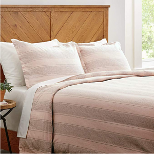 Stone & Beam Washed Linen Stripe Duvet Cover Set, Full / Queen, Blush with Grey Stripe @Amazon