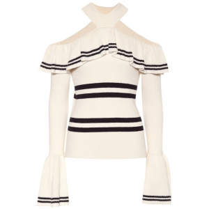30% off SELF-PORTRAIT Cotton and wool-blend top @Mytheresa