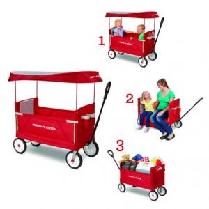 Radio Flyer 3合1 可折疊兒童拖車,帶頂棚,安全帶,紅色 @ Walmart
