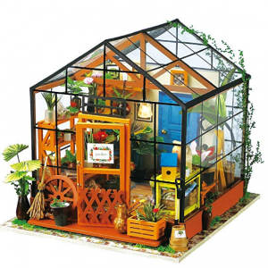 ROBOTIME DIY Dollhouse Wooden Miniature Furniture Kit Mini Green House with LED