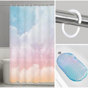 Maytex Rainbow 14-Piece Bath Set: INCLUDES 1 PEVA Shower Curtain, 1 Tub Mat, 12 Shower Hooks