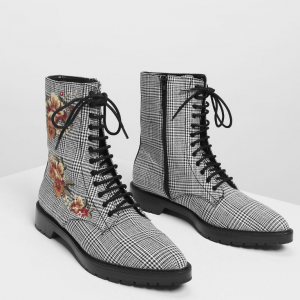 43% off Floral Embroidery Pointed Calf Boots @Charles & Keith