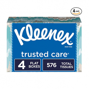 Kleenex Trusted Care Everyday Facial Tissues, Flat Box, 144 Count (Pack of 4) @ Amazon