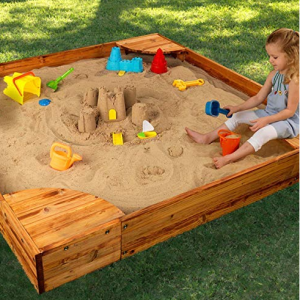 KidKraft Wooden Backyard Sandbox with Built-in Corner Seating and Mesh Cover - Honey @ Amazon