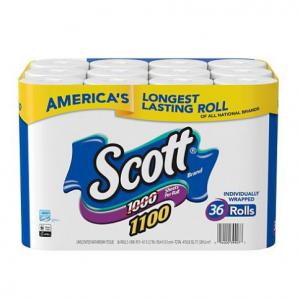Scott 1100 Unscented Bath Tissue Bonus Pack, 1-ply (36 Rolls = 1100 Sheets Per Roll) @ Sam's Club
