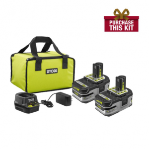 RYOBI 18-Volt ONE+ LITHIUM+ HP 3.0 Ah Battery (2-Pack) Starter Kit with Charger and Bag@Home Depot