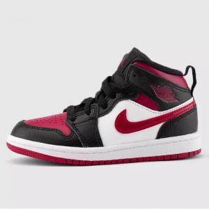 Jordan Pre-School Air Jordan 1 Mid (Black | Noble Red | White) @ KicksUSA