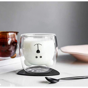 MUCHENGGIFT Cute Mugs Bear Tea Cup Milk Couple Glass Mugs Funny Valentine's Day Gifts@Amazon