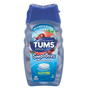 TUMS Smoothies Berry Fusion Extra Strength Antacid Chewable Tablets for Heartburn Relief