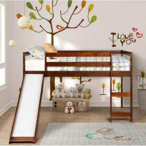 Harper & Bright Walnut Wood Twin Loft Bed with a Slide @ Home Depot