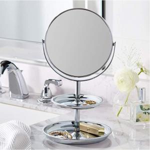 史低價:AmazonBasics 可翻轉帶兩層收納盤雙麵化妝鏡,鉻 @ Amazon