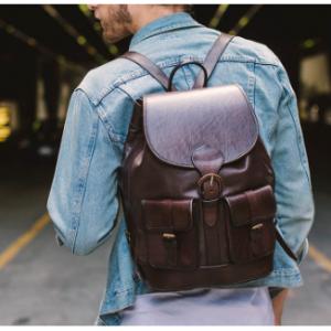 £40 OFF SANTA CRUZ BROWN Classic Quality Full Leather Backpack @Beara Beara