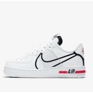 耐克 Nike Air Force 1 React 空军一号大童运动鞋 @Nike.com, 白红配色