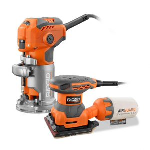 RIDGID 5.5 Amp Corded Fixed Base Trim Router with 2.4 Amp Corded 1/4 Sheet Sander @ Home Depot