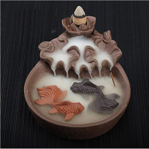 NewEGG Two Fishes Ceramic Purple Clay Smoke Backflow Incense Cone Sticks Burner Holder @ Amazon