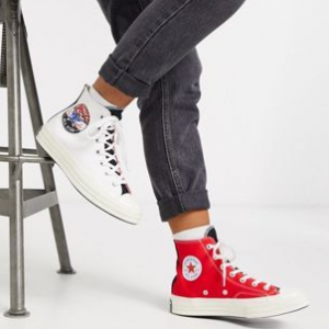 Converse Chuck '70 Hi Red And White Leopard Patch Sneakers @ ASOS US
