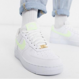 Nike Air Force 1 '07 White And Fluro Green Sneakers @ ASOS US