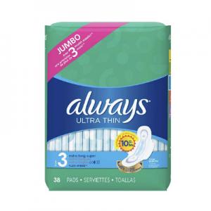 Always Ultra Thin Feminine Pads for Women 38 Count @ Amazon.com