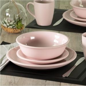 MAINSTAYS 粉色粗陶餐具16件套 @ Walmart