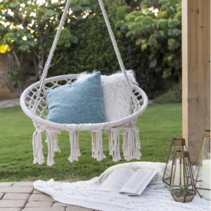 Best Choice Products Handwoven Cotton Macrame Hammock Hanging Chair Swing w/ Backrest