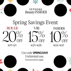 Spring Savings Event(La Mer, YSL, Armani, Estee Lauder, Givenchy, Huda Beauty) @ Sephora