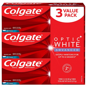Colgate Optic White Advanced Teeth Whitening Toothpaste,3.2 ounce (3 Pack) @ Amazon