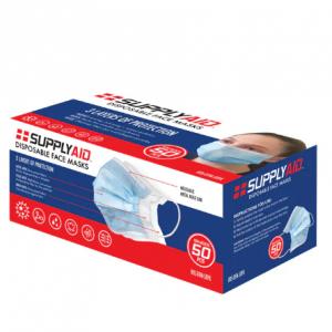 SUPPLYAID RRS-DFM-50PK Disposable Face Masks | 50 Count | 3-Layer @ Snow Joe