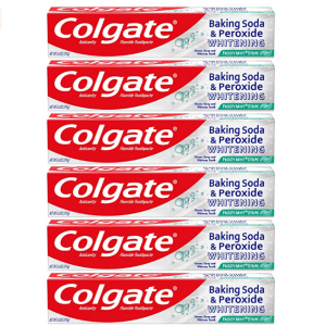 Colgate Baking Soda and Peroxide Whitening Toothpaste, Frosty Mint - 6 ounce (6 Pack) @ Amazon