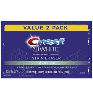 Crest 3D White Stain Eraser Whitening Toothpaste, Fresh Mint, 2 Count @ Amazon