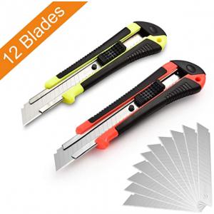 Lambery Retractable Utility Knife Box Cutter 12 Blades @ Amazon