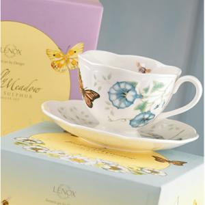 Lenox 蝶舞花香咖啡杯+杯盘 套装 @Amazon