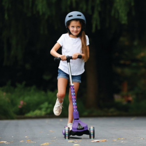 Jetson Saturn 3-Wheel light up Lean-to-steer kids kick scooter, Purple @ Walmart