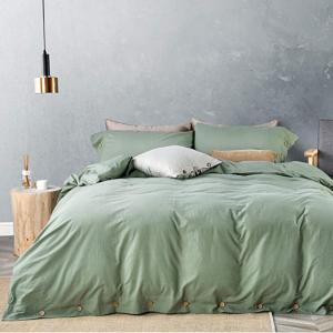 史低价:JELLYMONI 纯棉被罩床品3件套,Queen 牛油果绿 @ Amazon