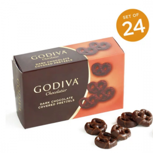 Dark Chocolate Covered Mini Pretzels, Set of 24 @ Godiva