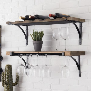 StyleWell 6-Bottle Natural Wood and Metal Wall Mounted Wine Rack @ Home Depot