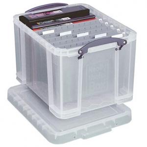 透明办公收纳盒带文件分隔栏带盖子 35L容量 @ Amazon