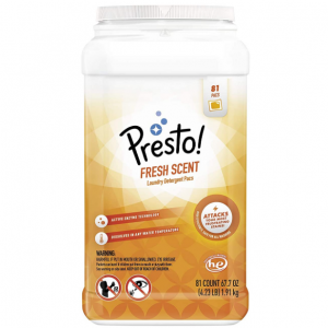 Amazon Brand - Presto! Laundry Detergent Pacs, Fresh Scent, 81 Count @ Amazon