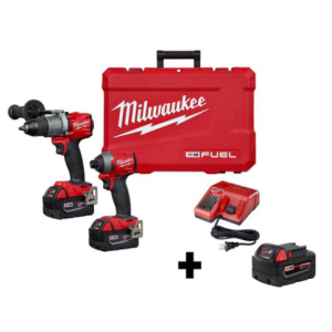 Milwaukee M18 FUEL 18-Volt Hammer Drill & Impact Driver  (2-Tool) W/ Free 5.0Ah Battery $349