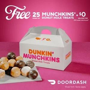 DoorDash x Dunkin' Free 25 Munchkins Donut Holes