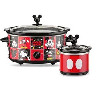 Disney 米奇5夸脱慢炖锅, 带20盎司迷你酱料碗,红色/黑色 @ Amazon