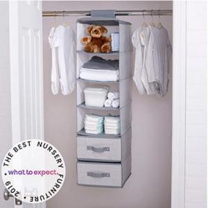 Delta Children 6 Shelf Hanging Wall Storage with 2 Drawers, Grey @ Amazon