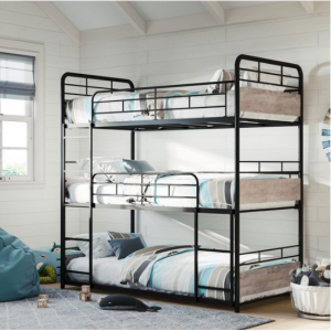 Better Homes & Gardens Anniston Triple Bunk Bed, Metal Frame and Rustic Gray Accents @ Walmart