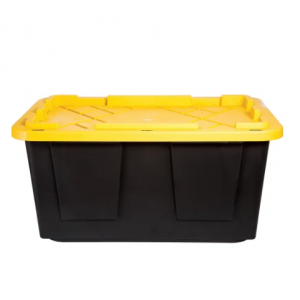 GreenMade Poly Storage Tote With Built-In Handles And Snap Lid, 27 Gallons, Black @ Office Depot