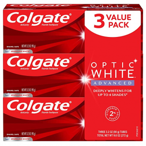 Colgate Optic White Advanced Teeth Whitening Toothpaste,  3.2 Ounce (3 Pack) @ Amazon