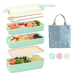 Ozazuco 3层便当盒3色可选,配午餐袋,绿色 @ Amazon