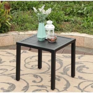 PHI VILLA Black Small Metal Square Side Coffee Bistro Table $40 shipped @ AlphaMarts.com